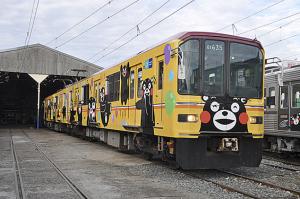 (熊本熊彩繪電車。/圖:熊本電氣鐵道株式會社)