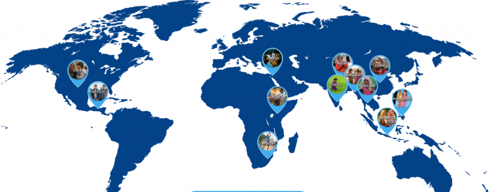 The map of Vaseline Healing Project donation programmes, raining courses and medical mission deployment