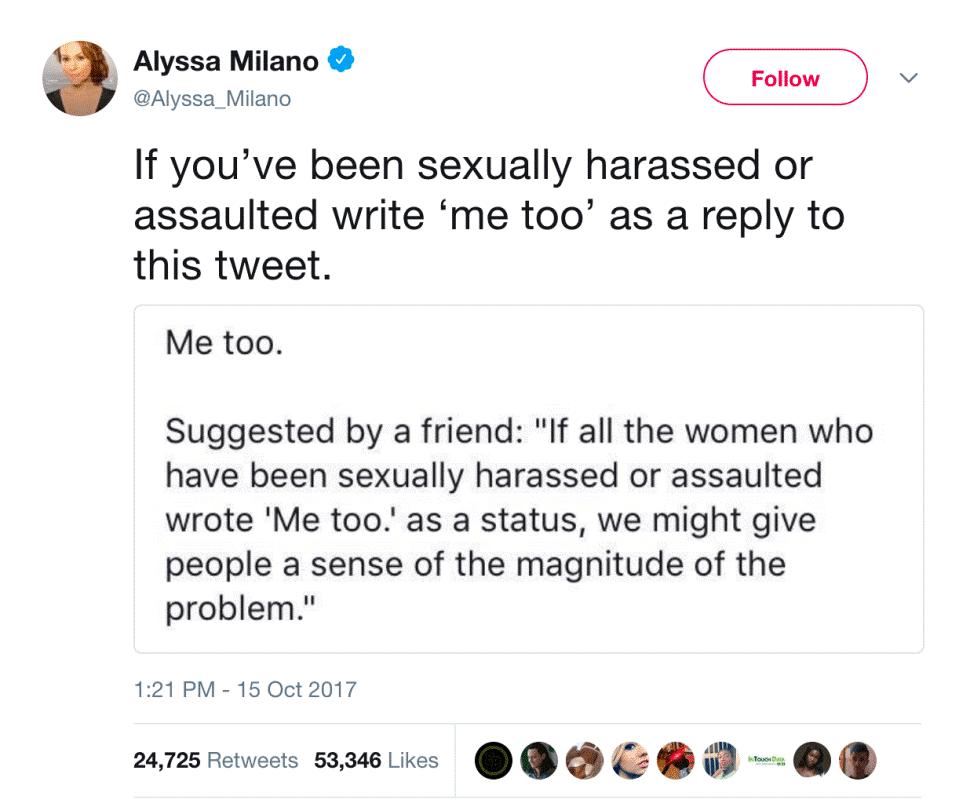 Figure 2: Milano's Tweet about #MeToo