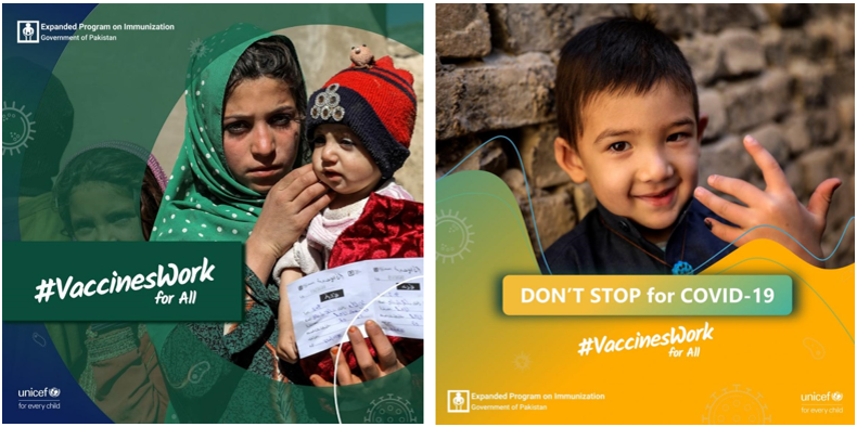 Field images featuring children and families who received vaccination